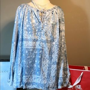 Blue print paisley flowy embroidered tunic top